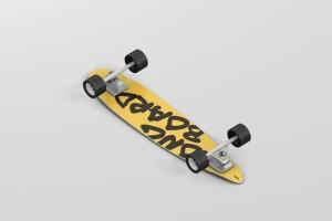 长滑板手绘图案设计样机模板 Skateboard Longboard Mockup插图2