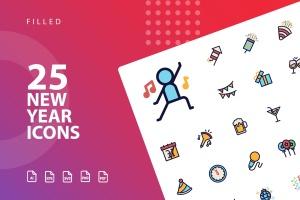 25枚新年主题矢量填充图标 New Year Filled  Icons插图1