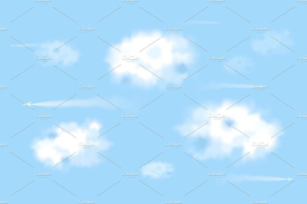 蓝天白云里飞行的飞机矢量图  Planes in the sky插图