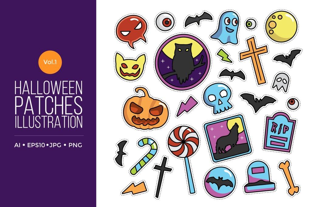 可爱风格万圣节贴纸图案矢量图形素材v1 Cute Happy Halloween Patches Vol.1插图