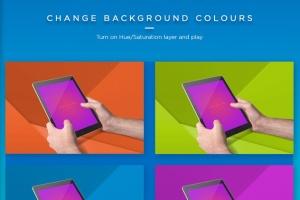 iPad平板电脑应用程序UI展示样机模板 iPad Tablet UI App Mockups with Vivid Backgrounds插图6
