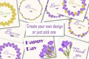 春天藏红花水彩插画设计素材 Crocus. Spring Flowers collection插图2