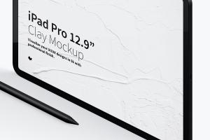 iPad Pro黏土陶瓷材质平板电脑屏幕演示左视图样机03 Clay iPad Pro 12.9 Mockup, Isometric Left View 03插图3