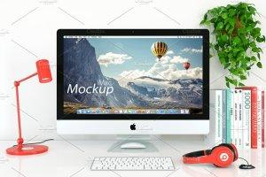 5K分辨率iMac实景场景样机模板 iMac Mockup – 5k – (1 PSD)插图1