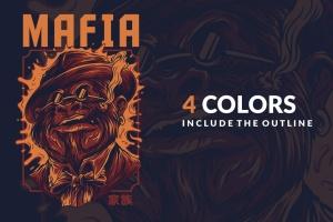 黑手党形象T恤印花图案设计 Mafia Ver 2插图4