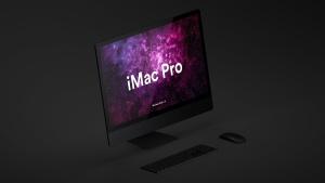 酷黑背景iMac Pro一体机电脑样机模板 Dark iMac Pro Mockup插图3