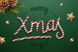 圣诞节日气氛创意海报字体PS图层样式 Christmas text effect插图1