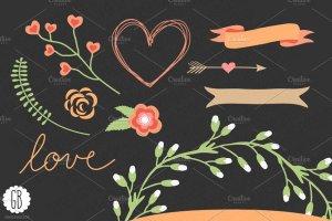 爱情花环玫瑰心形剪贴画 Love wreaths roses heart clip art插图3