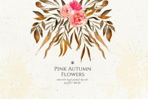 秋天粉色手绘花卉插画PNG素材v2 Pink Autumn Flowers vol.2插图5