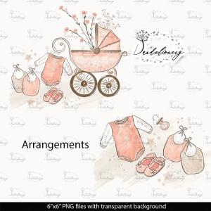 母婴主题水彩手绘图案剪贴画PNG素材 Maternity clipart插图(4)