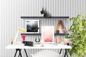 办公场景油画艺术品照片框架样机 Frame Creator Mockups插图6