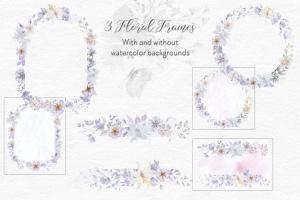 烟灰色水彩花卉手绘图案PNG素材 Smoky Grey Florals Watercolor Design Set插图8