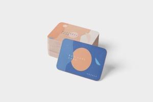 圆角企业名片设计效果图预览样机模板 Business Card Mockup Stack Round Corners插图4