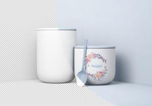 极简主义风食品储存罐样机模板 Minimal Jars with Spoon Mockup插图3