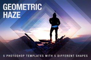 几何科幻照片效果处理PSD模板 Geometric Haze Photoshop Template插图1