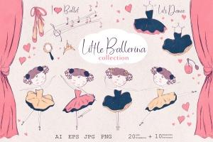 小芭蕾舞演员形象手绘插画图案矢量素材 Little ballerina插图1