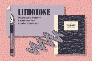 70年代转印凹模样板图案纹理套装 LITHOTONE: Distressed Pattern Swatches插图1