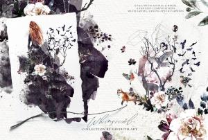 """高品质梦幻水彩矢量插画素材大合集[1.88GB] Fantasy illustrations """"Once in the dream""""插图15"""