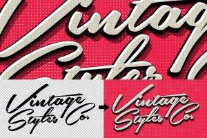 复古风格质感字体文本图层样式合集v3 Vintage Text Effects Vol.3插图5