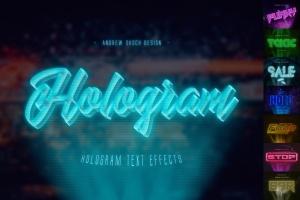 高科技未来科技感全息图效果PS字体样式 Hologram Text Effects插图1