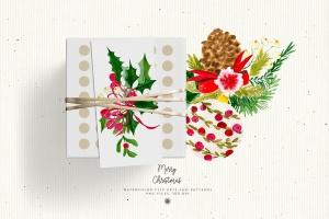 水彩手绘圣诞装饰元素PNG高清图片素材 Christmas Decorations插图5