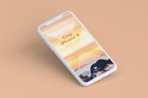 iPhone X苹果手机屏幕设计演示样机01 Clay iPhone X Mockup 01插图3