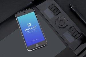 经典旧款黑色iPhone样机PSD模板 Black iPhone Mockups PSDs插图6
