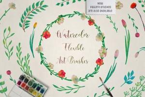 水彩花卉绘画图案&AI画笔笔刷 Illustrator Floral Art & Pattern Brushes插图(1)
