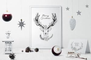60+圣诞节主题手绘涂鸦花卉元素 Christmas Doodle Floral Elements插图3