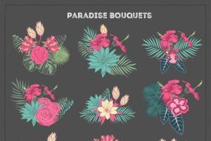 热带花卉和花束手绘插画素材 Paradise Flowers插图3