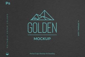 烫金印刷工艺Logo设计效果图样机 Gold Foil Paper Logo Mockup插图2