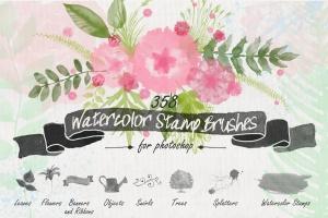 水彩花卉PS印章画笔笔刷 Floral Watercolor PS Stamp Brushes插图1