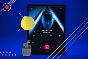 抽象设计风格iPad Pro平板电脑APP设计屏幕预览样机 Abstract iPad Pro Music App插图2
