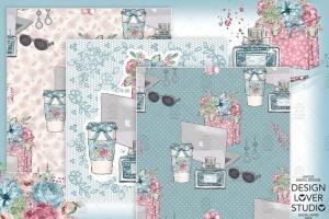 水彩花卉无缝图案设计素材 Boss Girl digital paper pack插图4