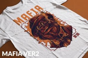 黑手党形象T恤印花图案设计 Mafia Ver 2插图2