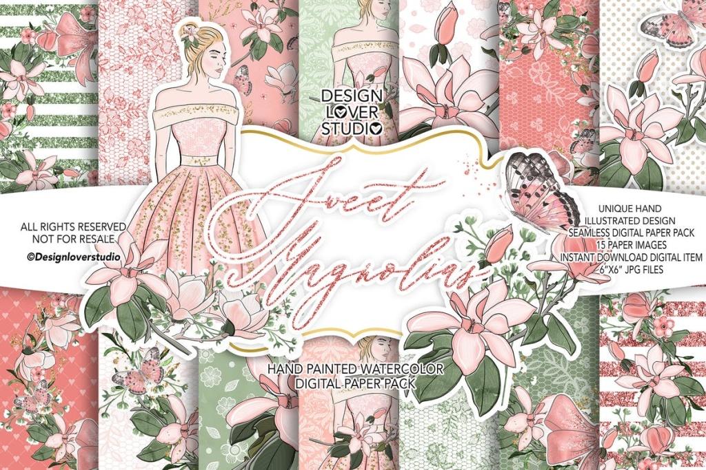 浅桃红色花卉图案婚礼素材合集 Sweet Magnolias digital paper pack插图