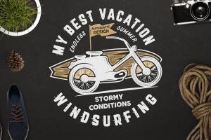 复古冲浪图案T恤印花设计素材 Surfing Retro Graphics Prints TShirt, Summer Label插图3