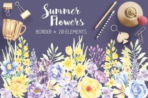 夏天花卉水彩手绘装饰框&设计元素PNG素材 Summer Flowers: Border and Elements in Watercolor插图1