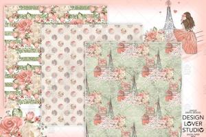 食物元素水彩花卉剪贴画设计套装 Paris je t'aime digital paper pack插图6