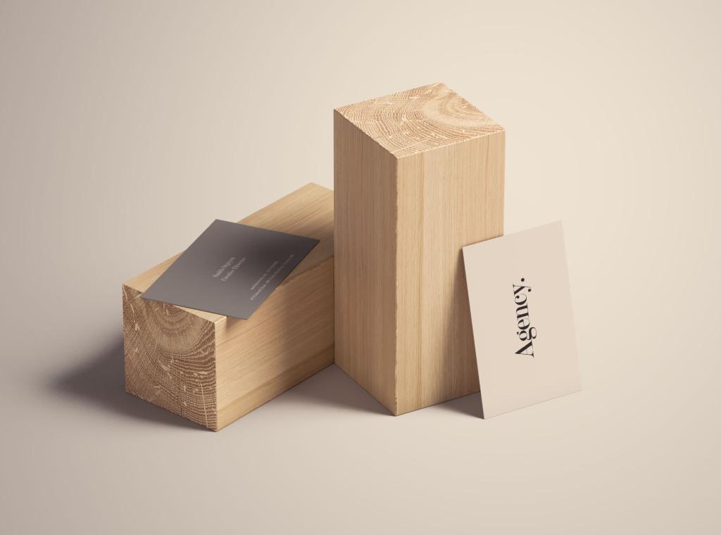 木块场景企业名片设计效果图样机 Business Card Mockup on Wood Blocks插图