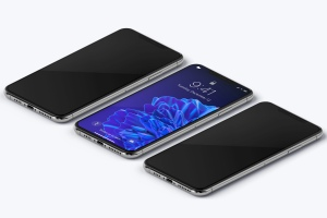 iPhone XS Max手机屏幕预览效果等距右视图样机 iPhone XS Max Mockup, Isometric Right View插图3