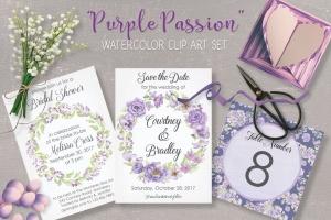 紫色水彩手绘花卉图案剪贴画PNG素材套装 Purple Passion: Watercolor Clip Art Bundle插图1