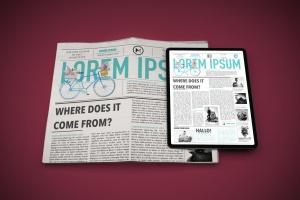 电子版报纸版式设计效果图样机 Newspaper App MockUp插图3