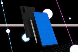 酷黑背景三星智能手机Note 10多角度屏幕预览样机模板 Neon Note 10 MockUp插图9