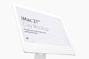 """27寸iMac一体机Web设计预览黏土样机模板 Clay iMac 27"""" Mockup, Display Close Up插图1"""