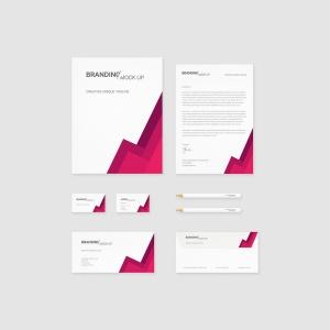 企业VI标识设计预览办公用品套件样机 Branding Identity – Material Triangle for Psd插图4