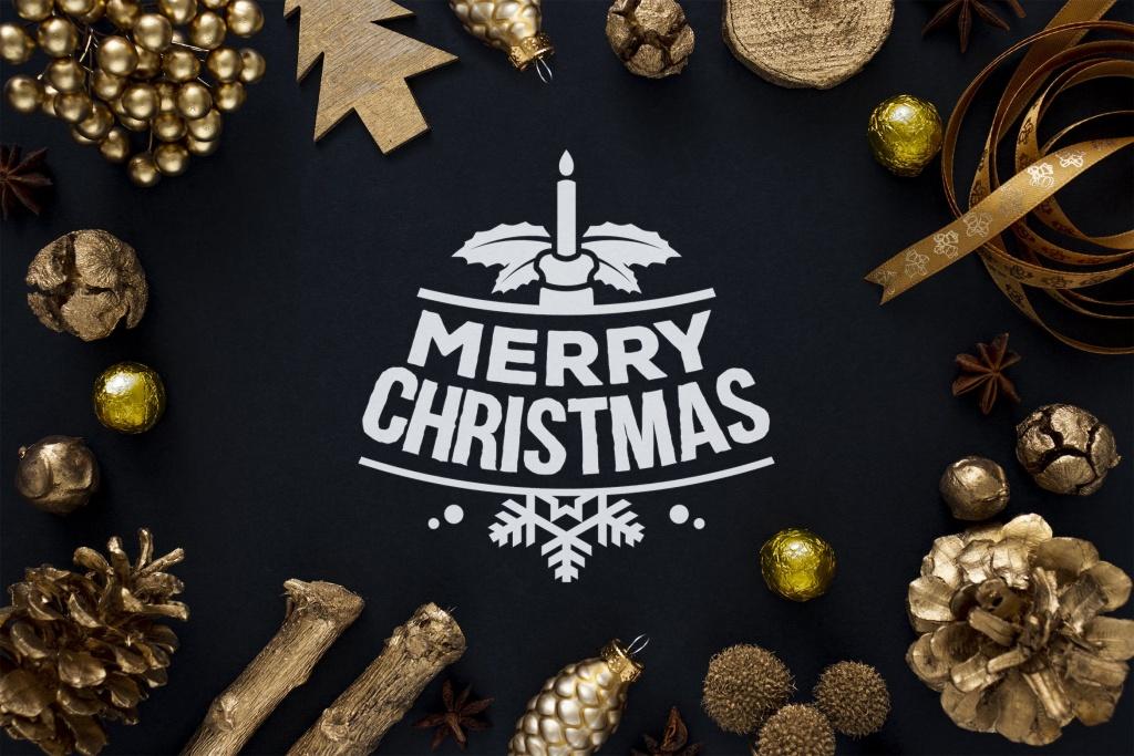 金色圣诞节主题背景场景样机模板 Golden Christmas mockup插图