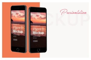 APP界面设计截图预览iPhone 8手机样机模板v3 Presentation Kit – iPhone showcase Mockup插图3