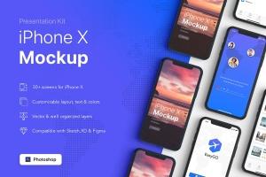 APP界面设计截图预览iPhone X手机样机模板v3 Presentation Kit – iPhone showcase Mockup插图2
