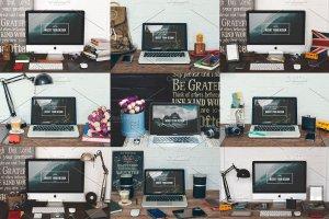 20款苹果一体机&笔记本电脑样机合集 20 iMac & Macbook screen mockups插图5
